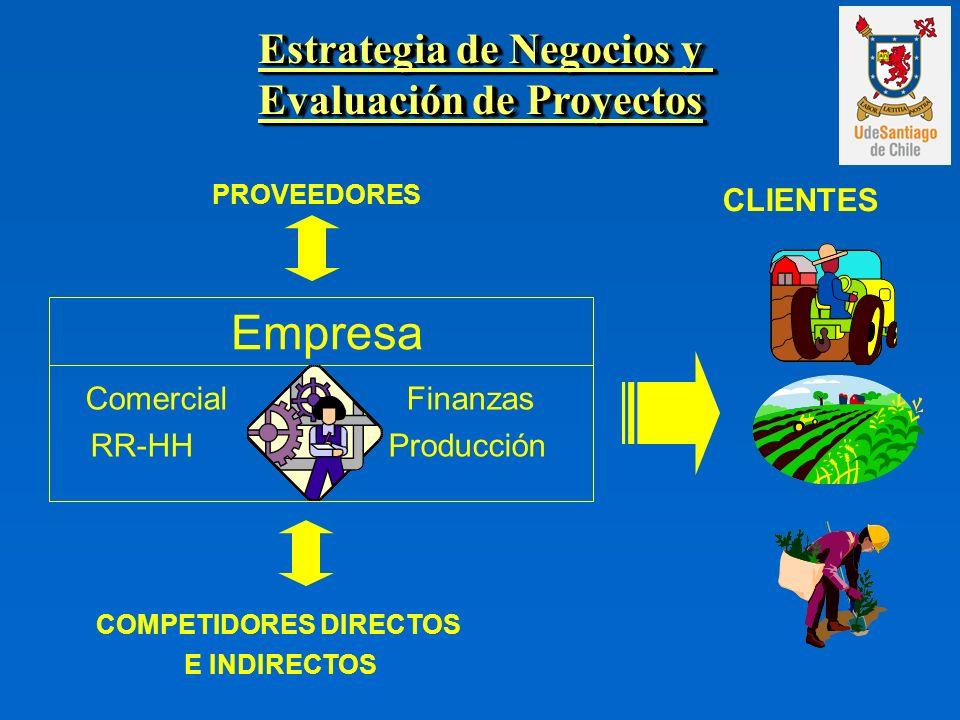 Comercial Finanzas RR-HH Producción Empresa Estrategia de Negocios y Evaluación de Proyectos Estrategia de Negocios y Evaluación de Proyectos PROVEEDORES CLIENTES COMPETIDORES DIRECTOS E INDIRECTOS