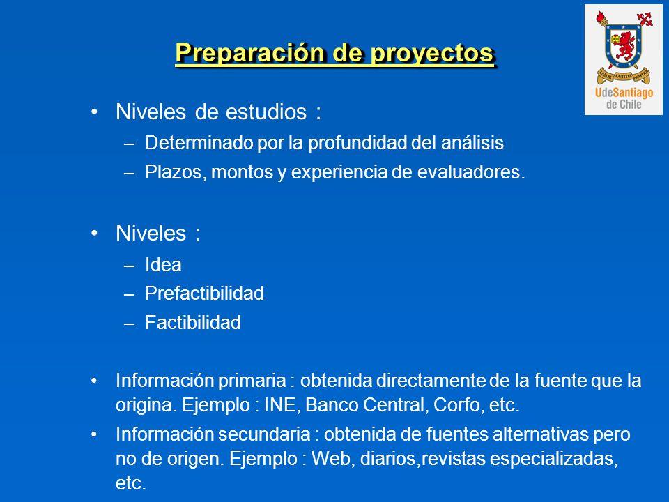 Niveles de estudios : –Determinado por la profundidad del análisis –Plazos, montos y experiencia de evaluadores. Niveles : –Idea –Prefactibilidad –Fac