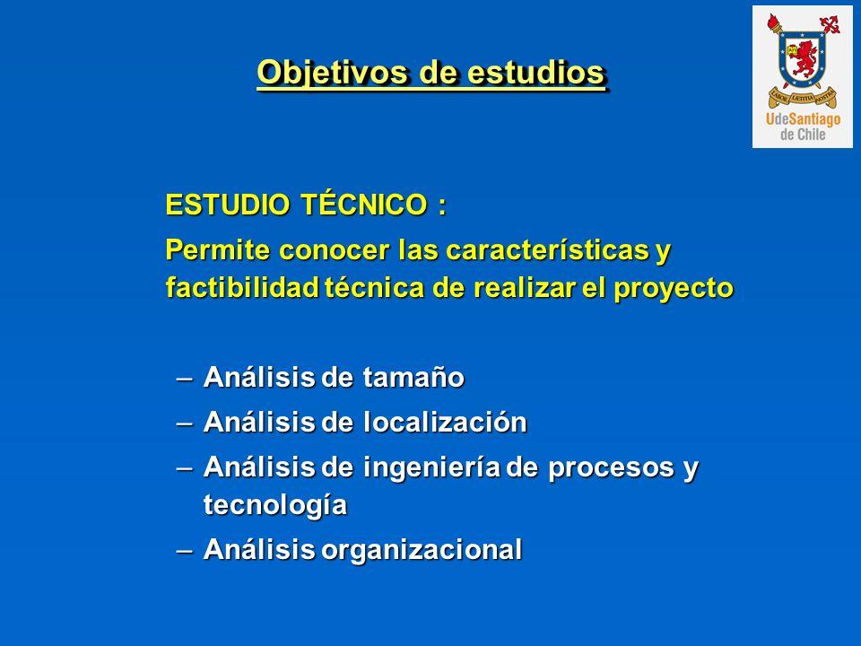 Objetivos de estudios ESTUDIO ECONÓMICO : ESTUDIO ECONÓMICO : Permite cuantificar monetariamente las variables del proyecto y calcular el flujo de caja.