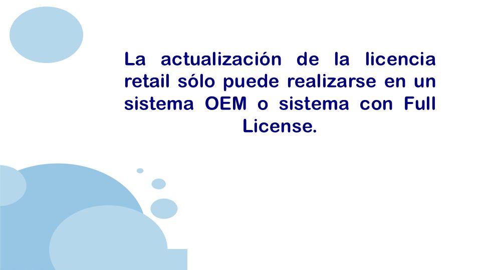 www.company.com La actualización de la licencia retail sólo puede realizarse en un sistema OEM o sistema con Full License.