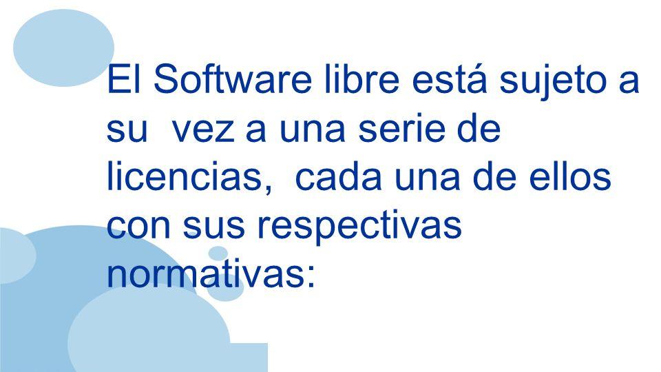 www.company.com El Software libre está sujeto a su vez a una serie de licencias, cada una de ellos con sus respectivas normativas:
