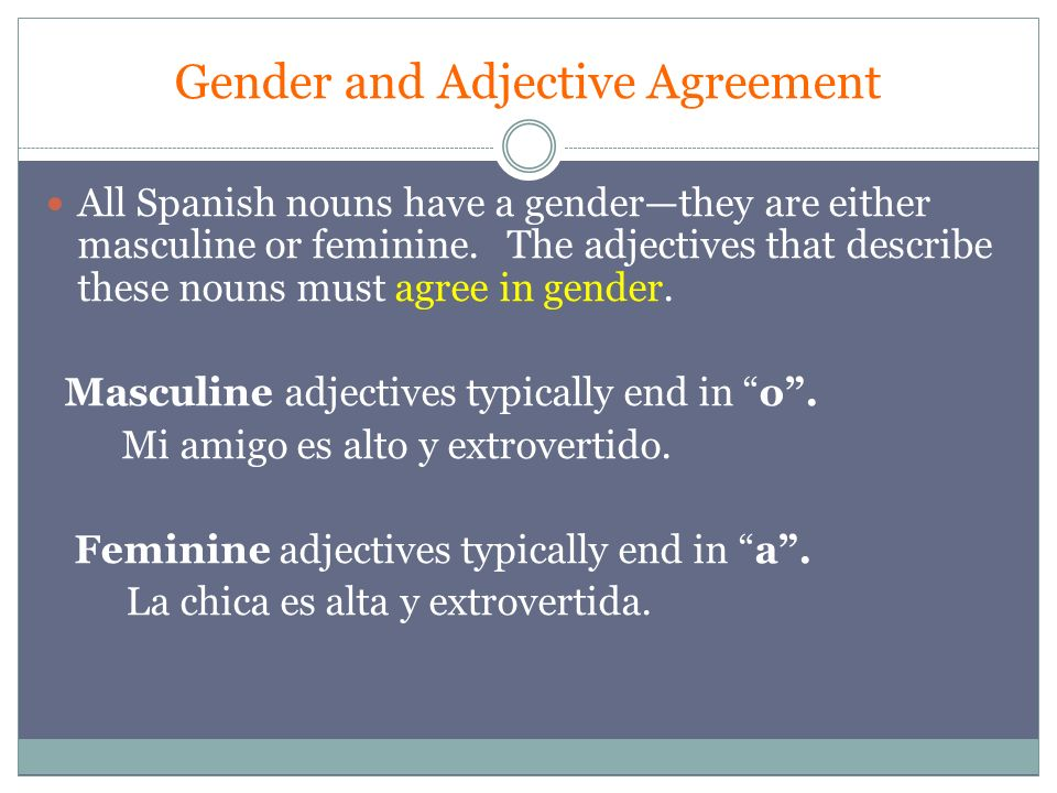 Gender and Adjective Agreement All Spanish nouns have a gender—they are either masculine or feminine.