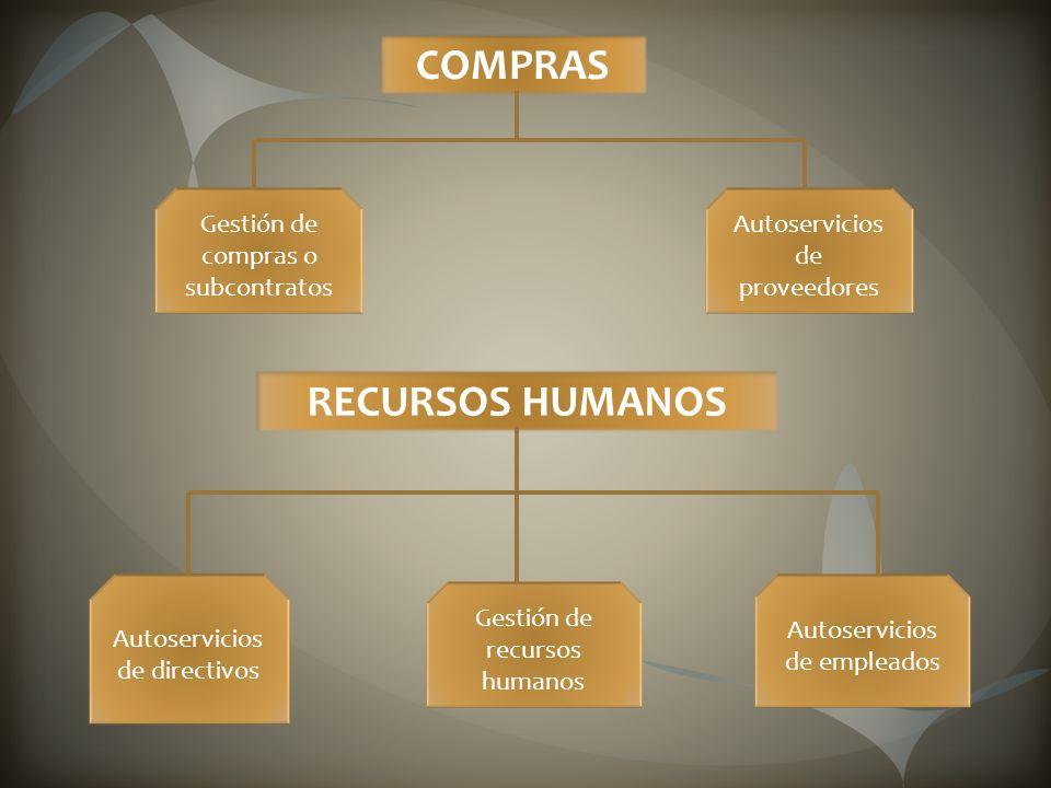 COMPRAS Gestión de compras o subcontratos Autoservicios de proveedores RECURSOS HUMANOS Autoservicios de directivos Gestión de recursos humanos Autoservicios de empleados