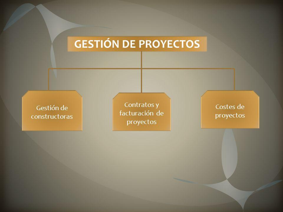 GESTIÓN DE PROYECTOS Gestión de constructoras Contratos y facturación de proyectos Costes de proyectos