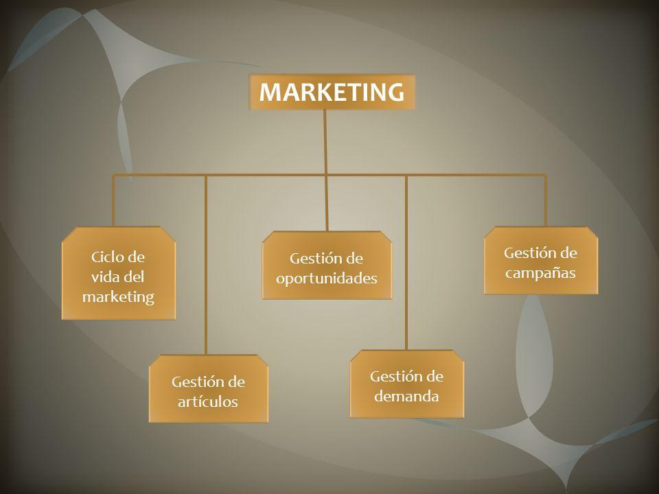 MARKETING Ciclo de vida del marketing Gestión de artículos Gestión de oportunidades Gestión de demanda Gestión de campañas