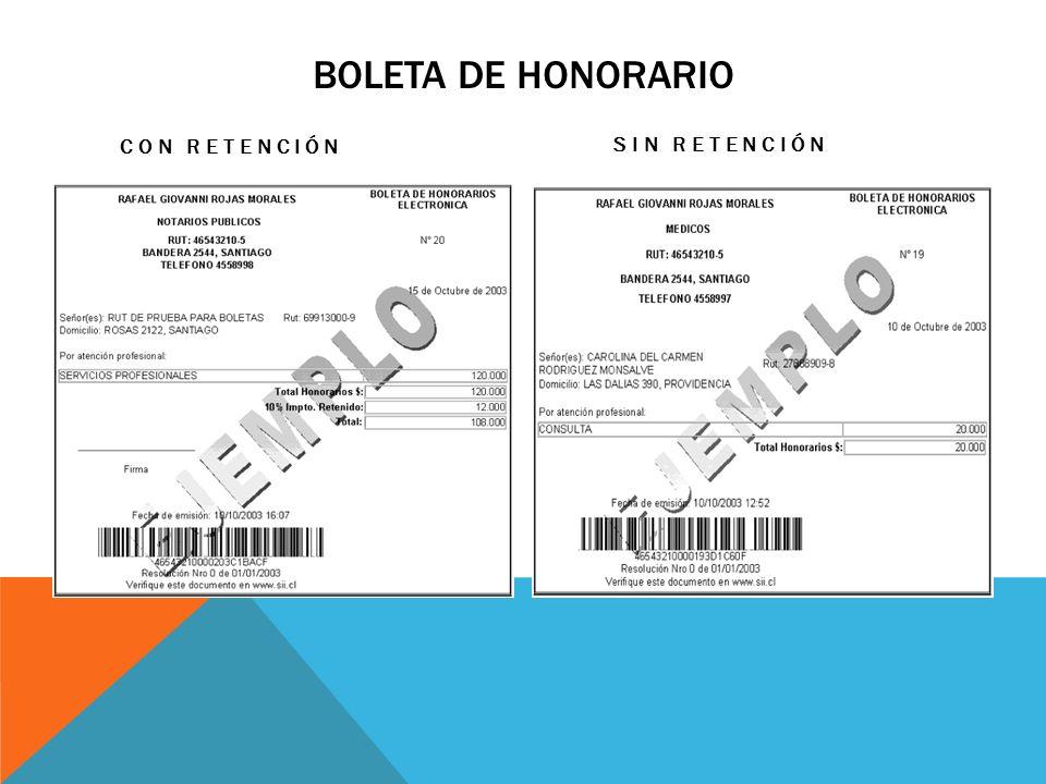BOLETA DE HONORARIO CON RETENCIÓN SIN RETENCIÓN