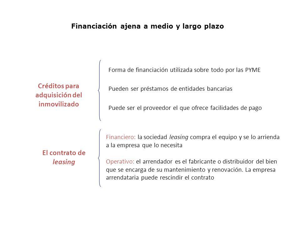 Financiación ajena a medio y largo plazo El contrato de leasing Créditos para adquisición del inmovilizado Operativo: el arrendador es el fabricante o distribuidor del bien que se encarga de su mantenimiento y renovación.