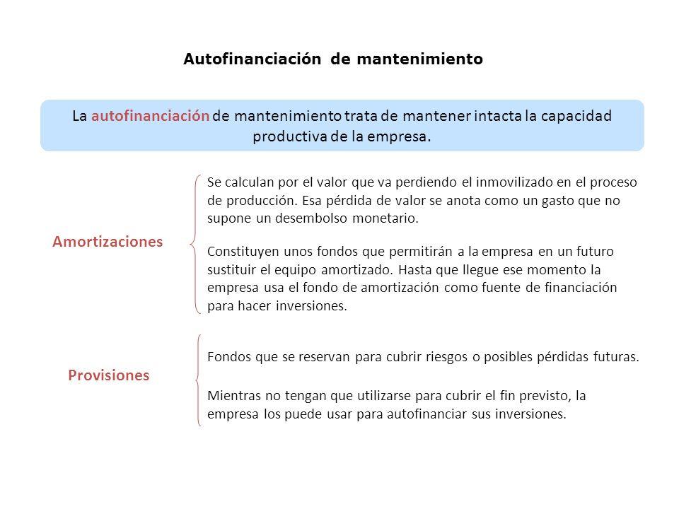 Autofinanciación de mantenimiento La autofinanciación de mantenimiento trata de mantener intacta la capacidad productiva de la empresa.