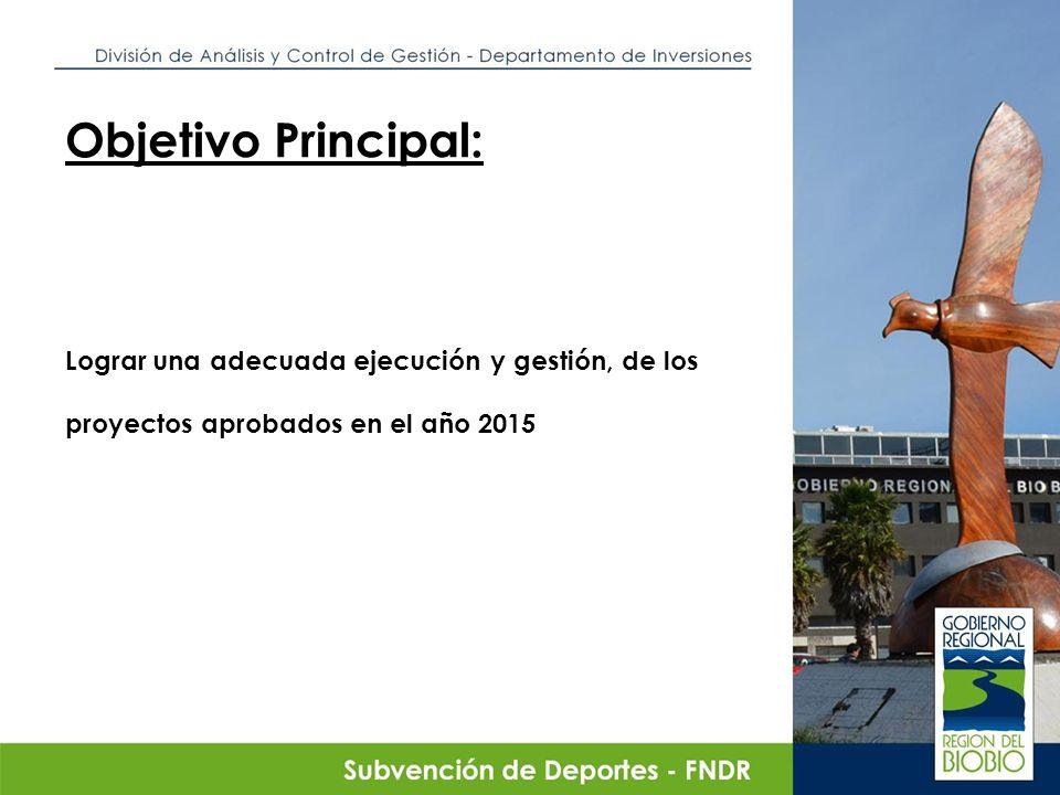 Objetivo Principal: Lograr una adecuada ejecución y gestión, de los proyectos aprobados en el año 2015