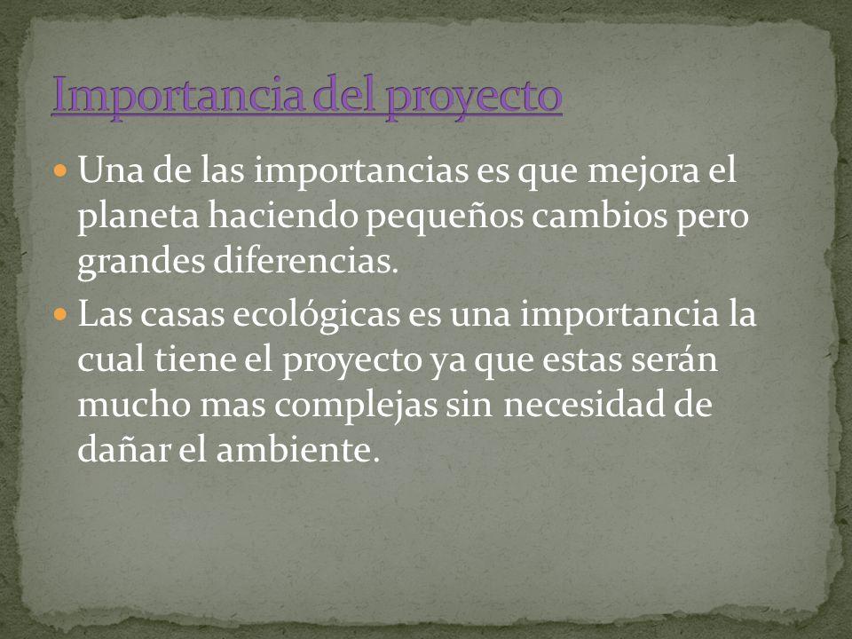 Una de las importancias es que mejora el planeta haciendo pequeños cambios pero grandes diferencias. Las casas ecológicas es una importancia la cual t