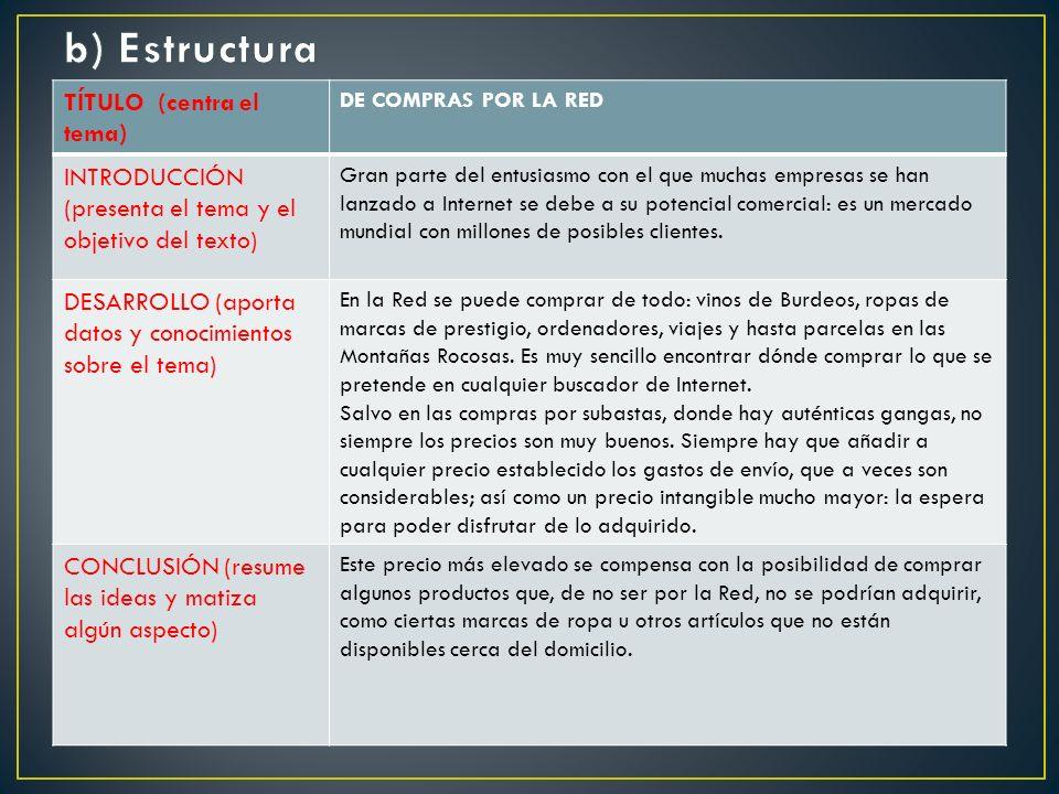 TÍTULO (centra el tema) DE COMPRAS POR LA RED INTRODUCCIÓN (presenta el tema y el objetivo del texto) Gran parte del entusiasmo con el que muchas empresas se han lanzado a Internet se debe a su potencial comercial: es un mercado mundial con millones de posibles clientes.