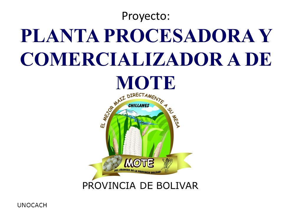 UNOCACH Proyecto: PLANTA PROCESADORA Y COMERCIALIZADOR A DE MOTE PROVINCIA DE BOLIVAR
