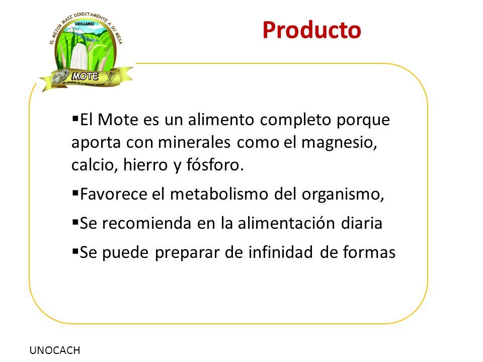 UNOCACH Producto  El Mote es un alimento completo porque aporta con minerales como el magnesio, calcio, hierro y fósforo.  Favorece el metabolismo d