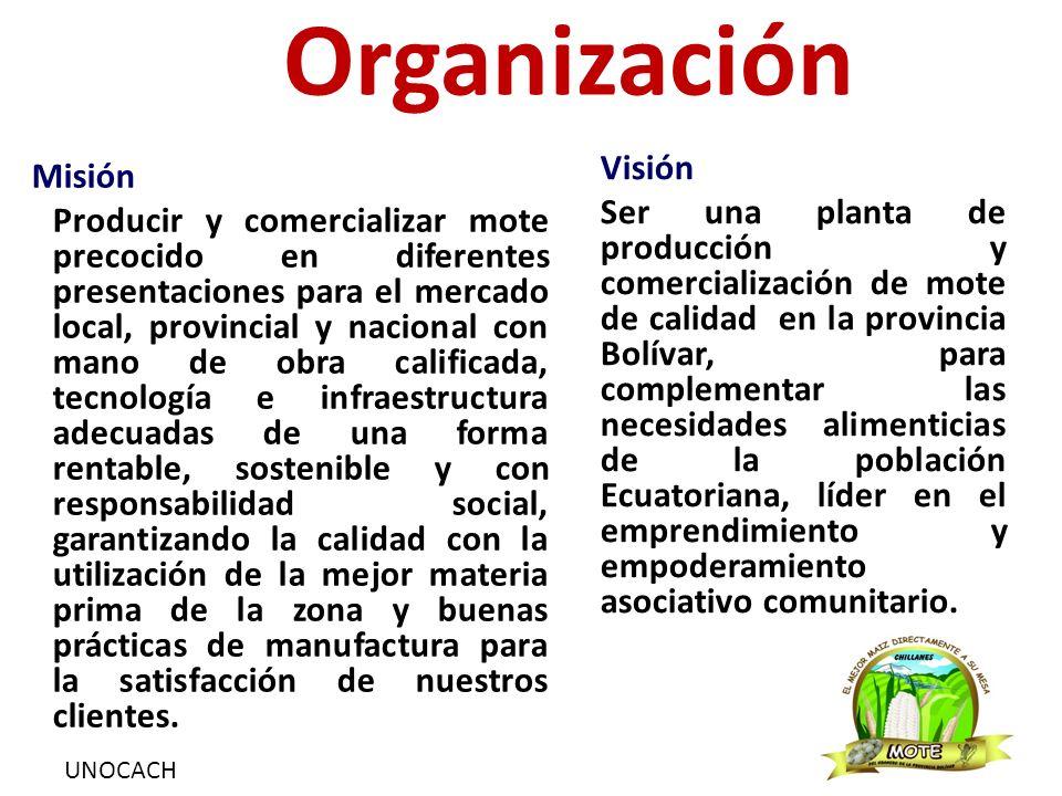UNOCACH Organización Misión Producir y comercializar mote precocido en diferentes presentaciones para el mercado local, provincial y nacional con mano