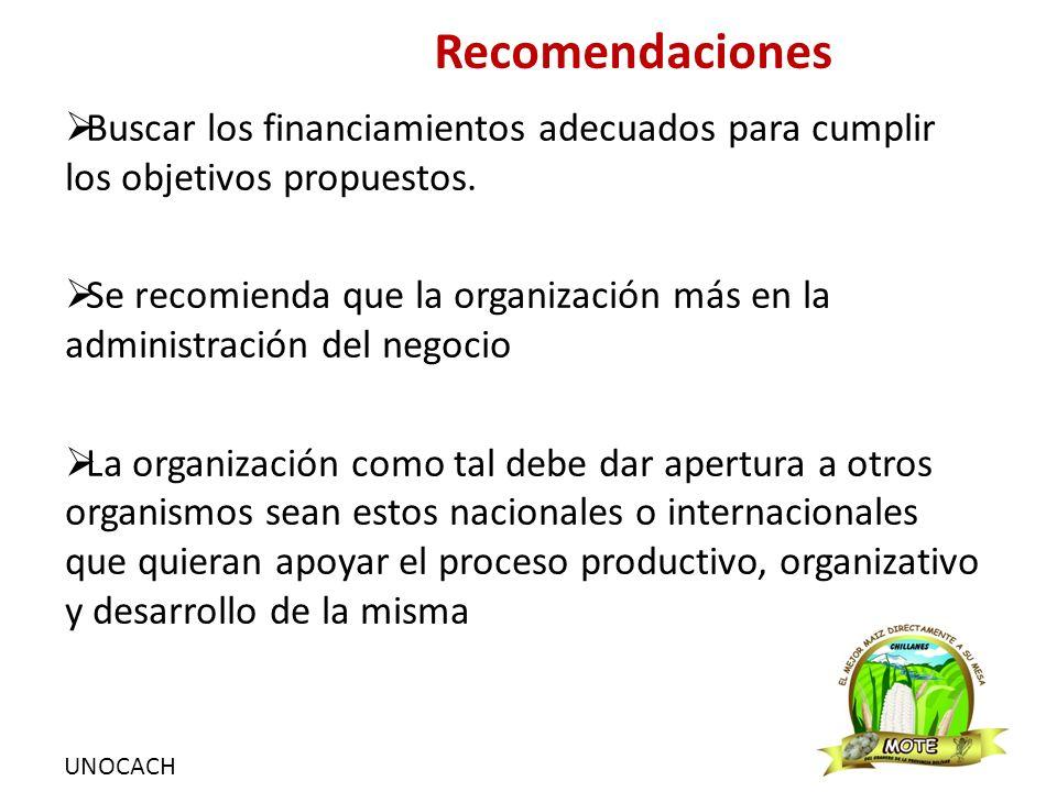 UNOCACH Recomendaciones  Buscar los financiamientos adecuados para cumplir los objetivos propuestos.