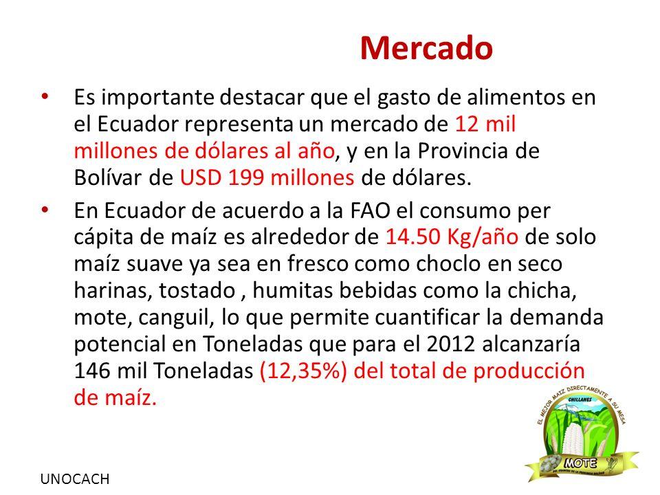 UNOCACH Mercado Es importante destacar que el gasto de alimentos en el Ecuador representa un mercado de 12 mil millones de dólares al año, y en la Provincia de Bolívar de USD 199 millones de dólares.