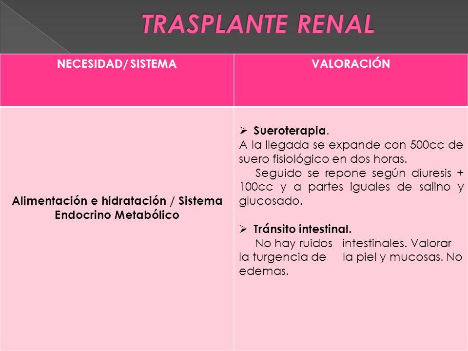 NECESIDAD/ SISTEMAVALORACIÓN Alimentación e hidratación / Sistema Endocrino Metabólico  Sueroterapia.