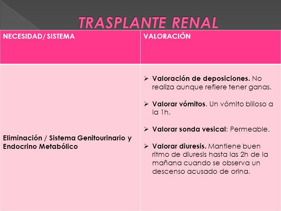 NECESIDAD/ SISTEMAVALORACIÓN Eliminación / Sistema Genitourinario y Endocrino Metabólico  Valoración de deposiciones.