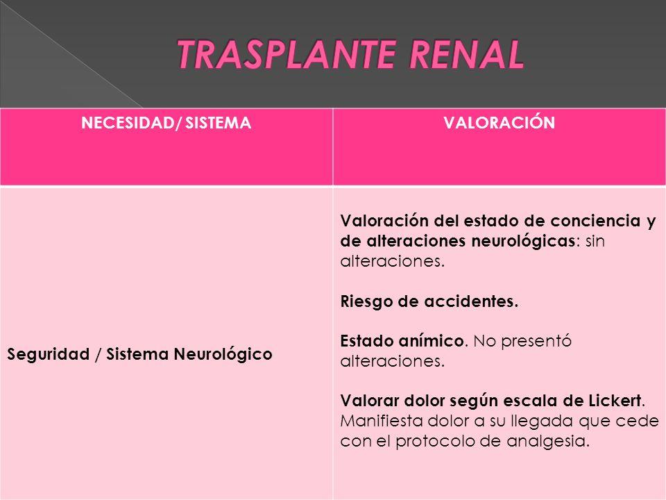 NECESIDAD/ SISTEMAVALORACIÓN Seguridad / Sistema Neurológico Valoración del estado de conciencia y de alteraciones neurológicas : sin alteraciones.