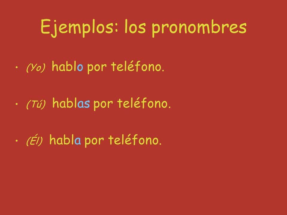 Ejemplos: los pronombres (Yo) hablo por teléfono. (Tú) hablas por teléfono.