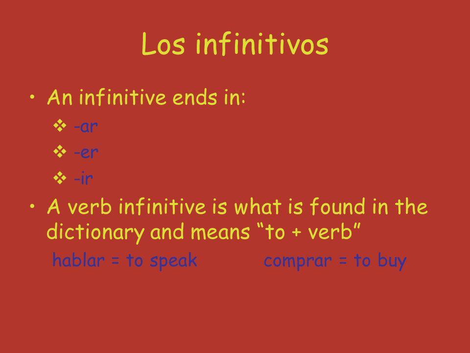 Verb Stems Verb stem = verb part before the -ar, -er, -ir Unos ejemplos: jugar hablar comprar