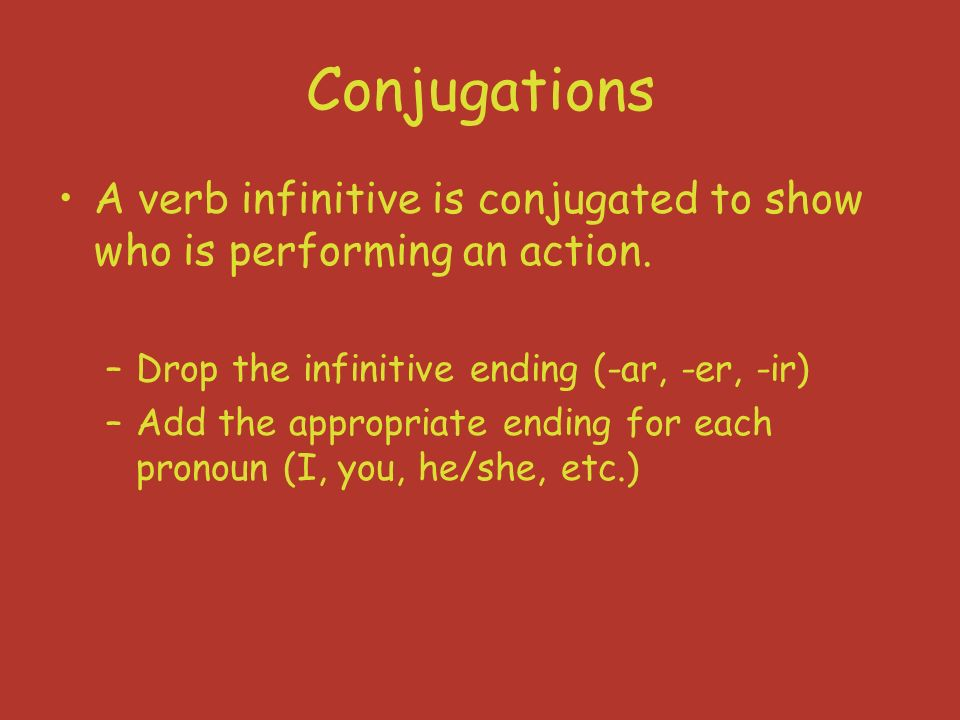 Verbo regular (-ar) -ar verb endings yo-onosotros-amos tú-asvosotros-áis él/ella/ud.-a ellos/ellas/ uds.