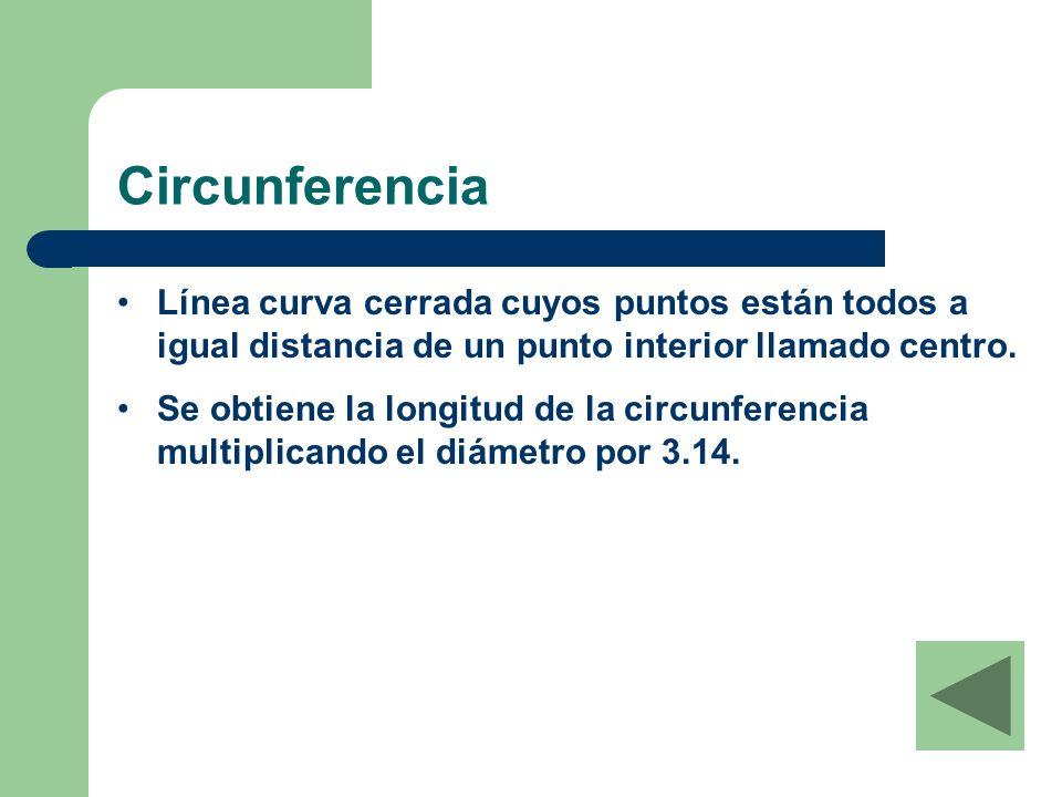 Circunferencia Línea curva cerrada cuyos puntos están todos a igual distancia de un punto interior llamado centro.