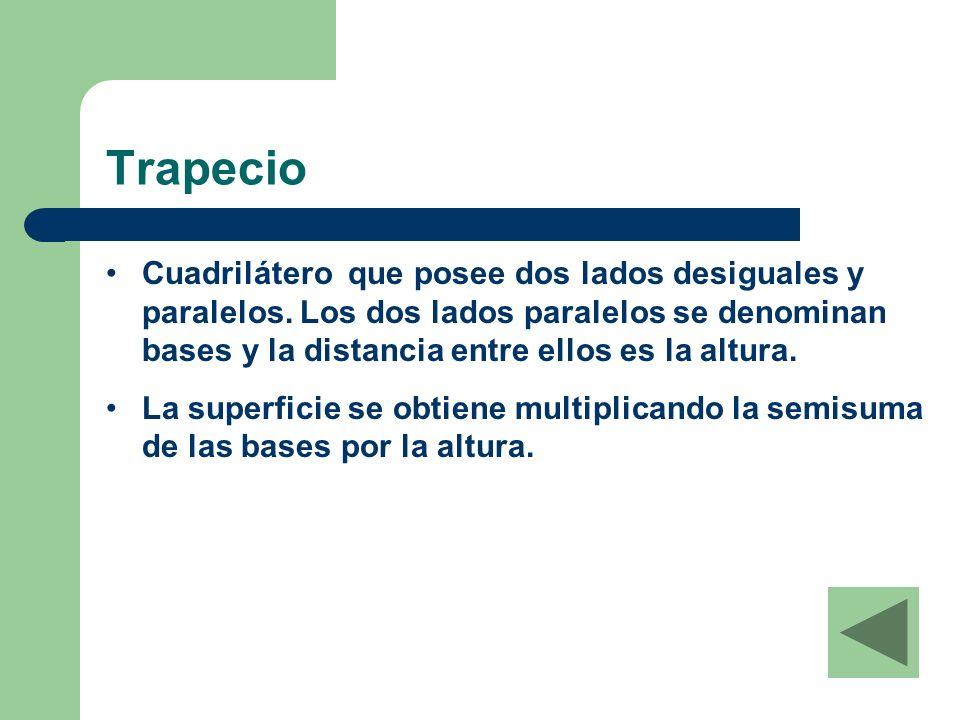 Trapecio Cuadrilátero que posee dos lados desiguales y paralelos.