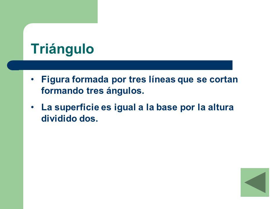 Triángulo Figura formada por tres líneas que se cortan formando tres ángulos.