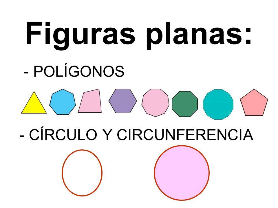 Figuras planas: - POLÍGONOS - CÍRCULO Y CIRCUNFERENCIA