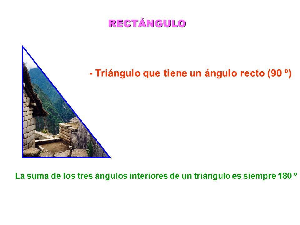 - Triángulo que tiene un ángulo recto (90 º) RECTÁNGULO La suma de los tres ángulos interiores de un triángulo es siempre 180 º