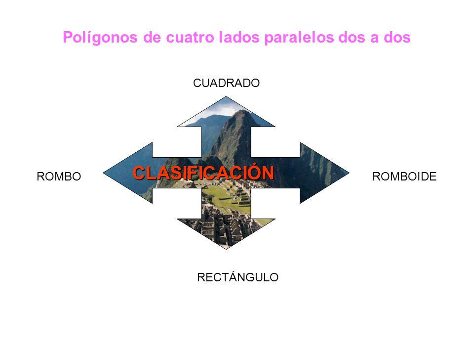 Polígonos de cuatro lados paralelos dos a dos CLASIFICACIÓN CUADRADO ROMBOROMBOIDE RECTÁNGULO