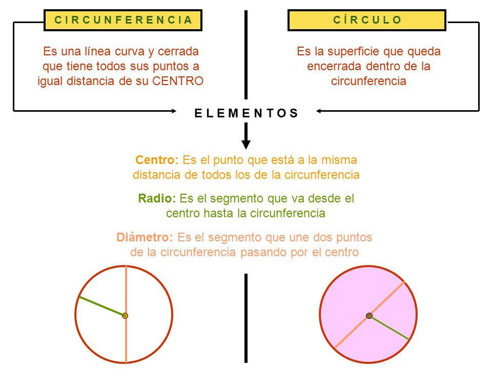 Es una línea curva y cerrada que tiene todos sus puntos a igual distancia de su CENTRO Centro: Es el punto que está a la misma distancia de todos los de la circunferencia Diámetro: Es el segmento que une dos puntos de la circunferencia pasando por el centro C Í R C U L O Es la superficie que queda encerrada dentro de la circunferencia Radio: Es el segmento que va desde el centro hasta la circunferencia E L E M E N T O S