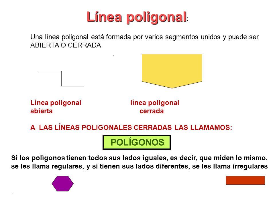 Línea poligonal : Una línea poligonal está formada por varios segmentos unidos y puede ser ABIERTA O CERRADA.