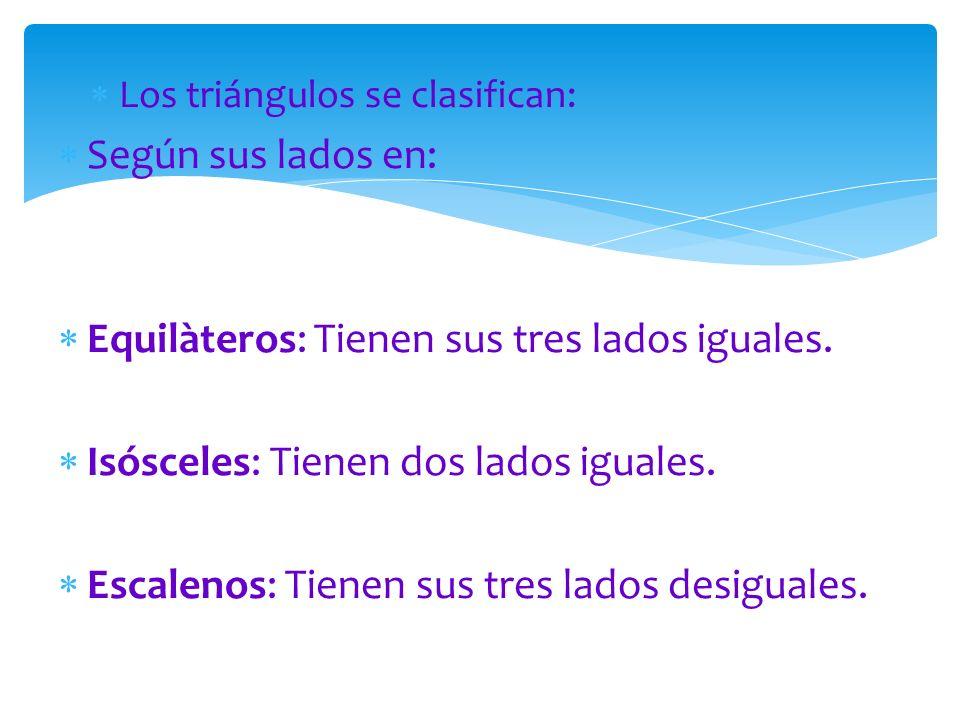  Los triángulos se clasifican:  Según sus lados en:  Equilàteros: Tienen sus tres lados iguales.