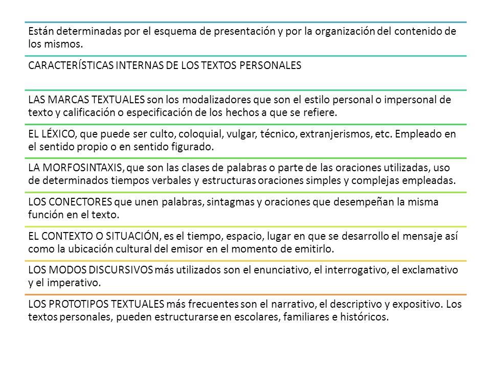 Están determinadas por el esquema de presentación y por la organización del contenido de los mismos.