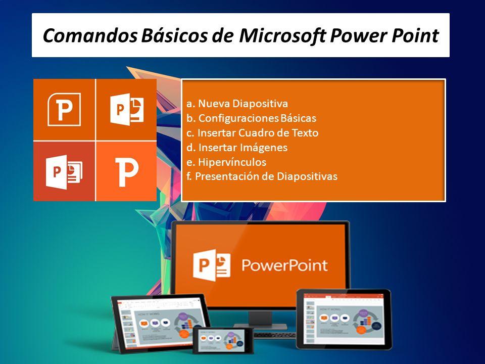 Comandos Básicos de Microsoft Power Point a. Nueva Diapositiva b. Configuraciones Básicas c. Insertar Cuadro de Texto d. Insertar Imágenes e. Hipervín