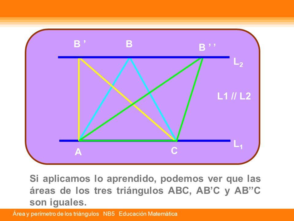 Si aplicamos lo aprendido, podemos ver que las áreas de los tres triángulos ABC, AB'C y AB''C son iguales. A C BB ' B ' ' L1L1 L2L2 L1 // L2