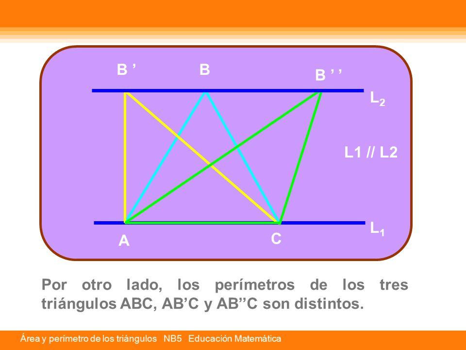 Área y perímetro de los triángulos NB5 Educación Matemática Por otro lado, los perímetros de los tres triángulos ABC, AB'C y AB''C son distintos. A C