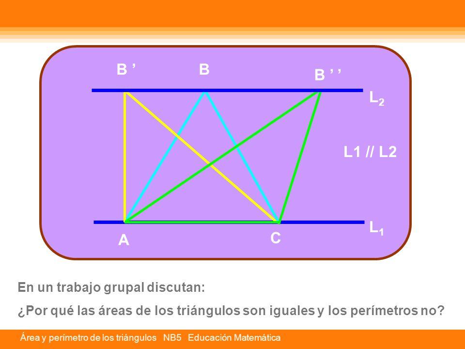 Área y perímetro de los triángulos NB5 Educación Matemática En un trabajo grupal discutan: ¿Por qué las áreas de los triángulos son iguales y los perí
