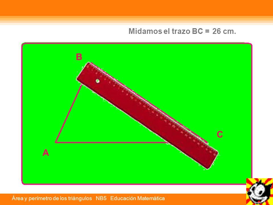 Área y perímetro de los triángulos NB5 Educación Matemática C A B Midamos el trazo CA = 30,02 cm.