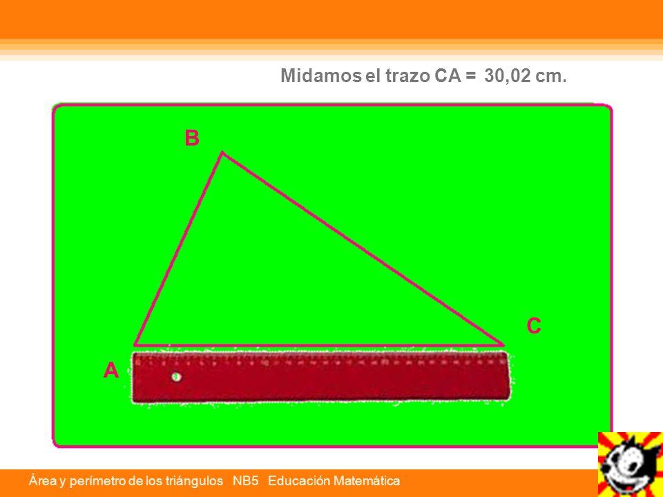 Área y perímetro de los triángulos NB5 Educación Matemática Entonces, para calcular el perímetro, solo medimos los lados y los sumamos.