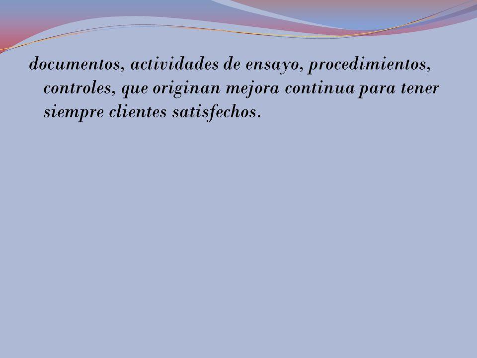 documentos, actividades de ensayo, procedimientos, controles, que originan mejora continua para tener siempre clientes satisfechos.