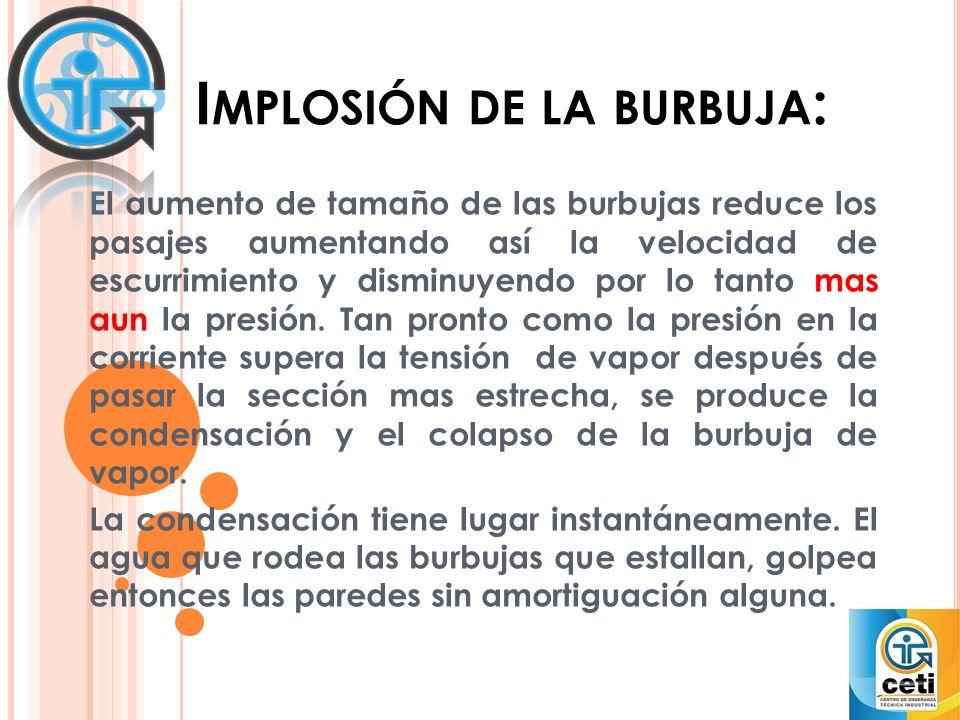 I MPLOSIÓN DE LA BURBUJA : El aumento de tamaño de las burbujas reduce los pasajes aumentando así la velocidad de escurrimiento y disminuyendo por lo tanto mas aun la presión.