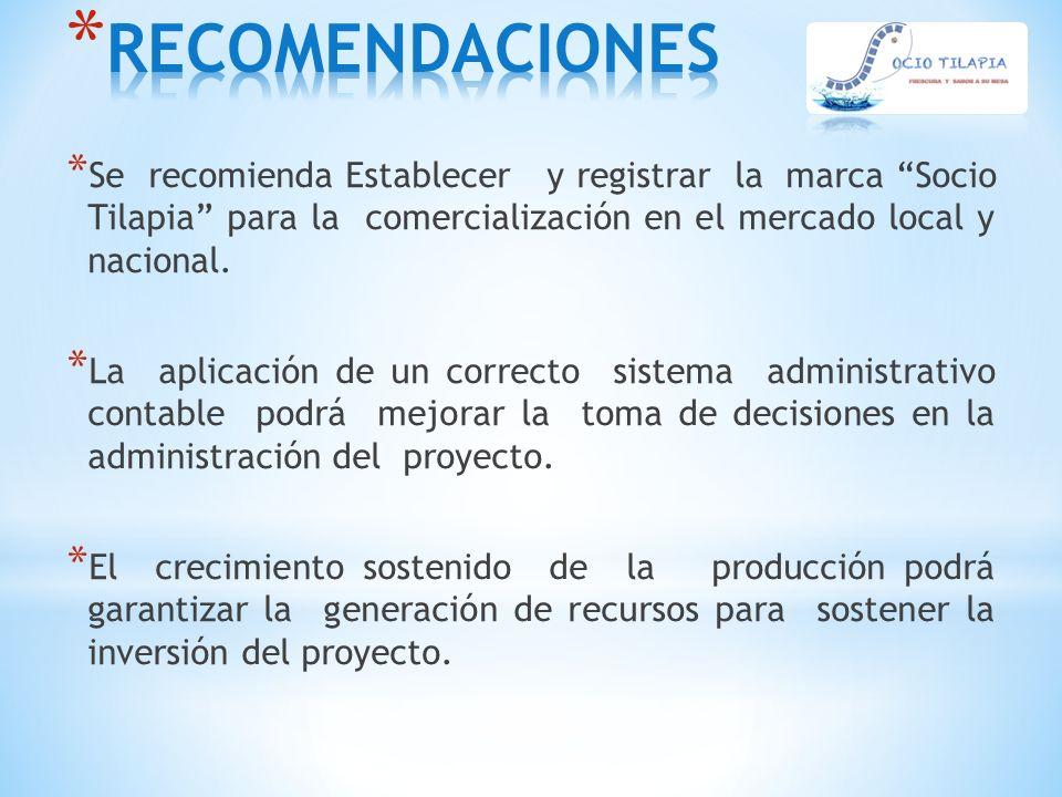 """* Se recomienda Establecer y registrar la marca """"Socio Tilapia"""" para la comercialización en el mercado local y nacional. * La aplicación de un correct"""