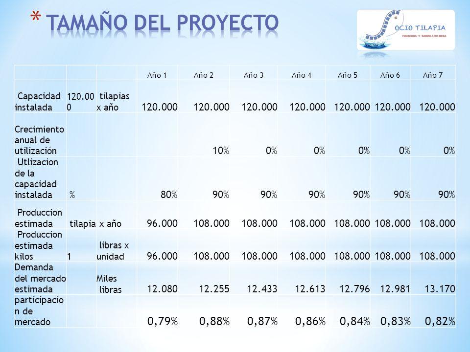 Año 1Año 2Año 3Año 4Año 5Año 6Año 7 Capacidad instalada 120.00 0 tilapias x año 120.000 Crecimiento anual de utilización 10%0% Utlizacion de la capaci
