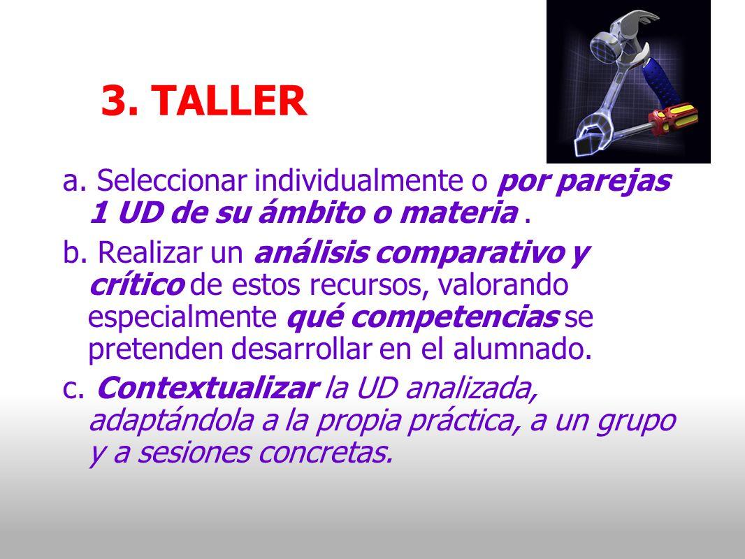 3. TALLER a. Seleccionar individualmente o por parejas 1 UD de su ámbito o materia.