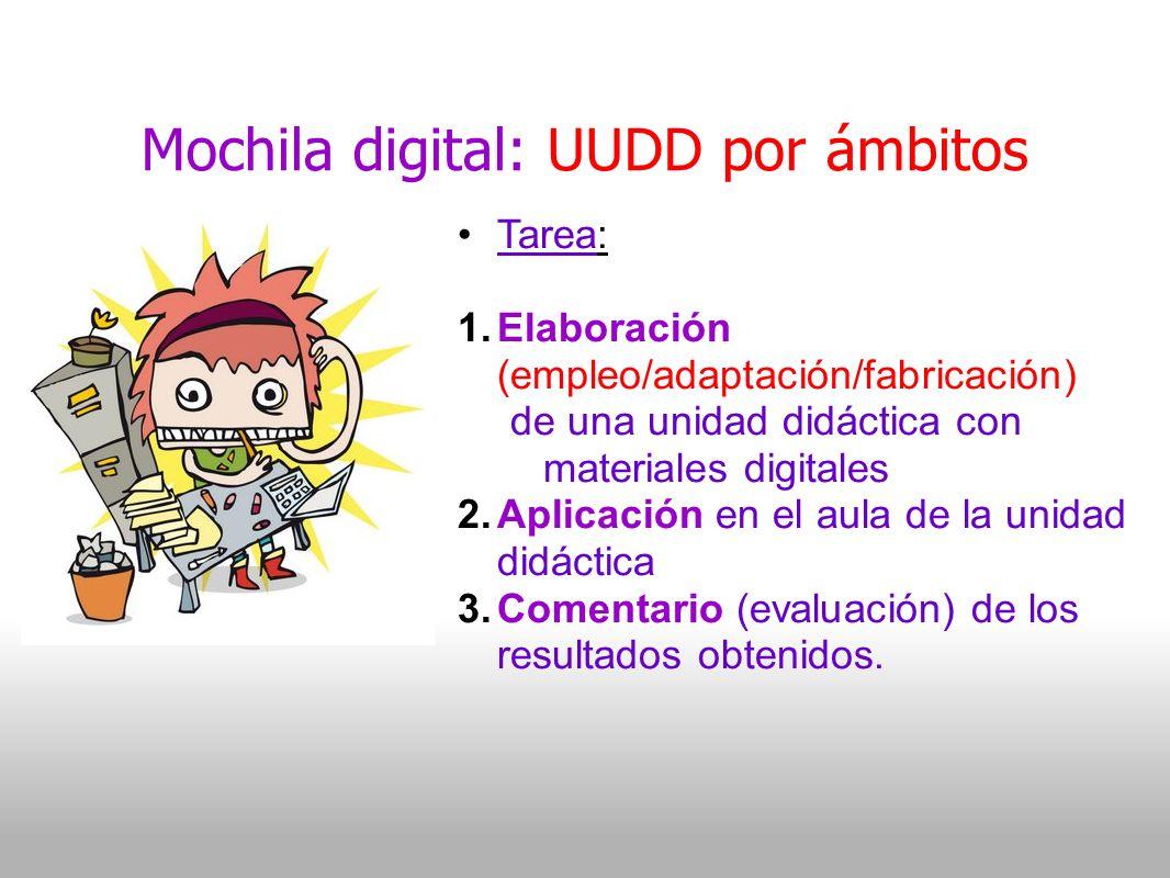 Mochila digital: UUDD por ámbitos Tarea: 1.Elaboración (empleo/adaptación/fabricación) de una unidad didáctica con materiales digitales 2.Aplicación en el aula de la unidad didáctica 3.Comentario (evaluación) de los resultados obtenidos.
