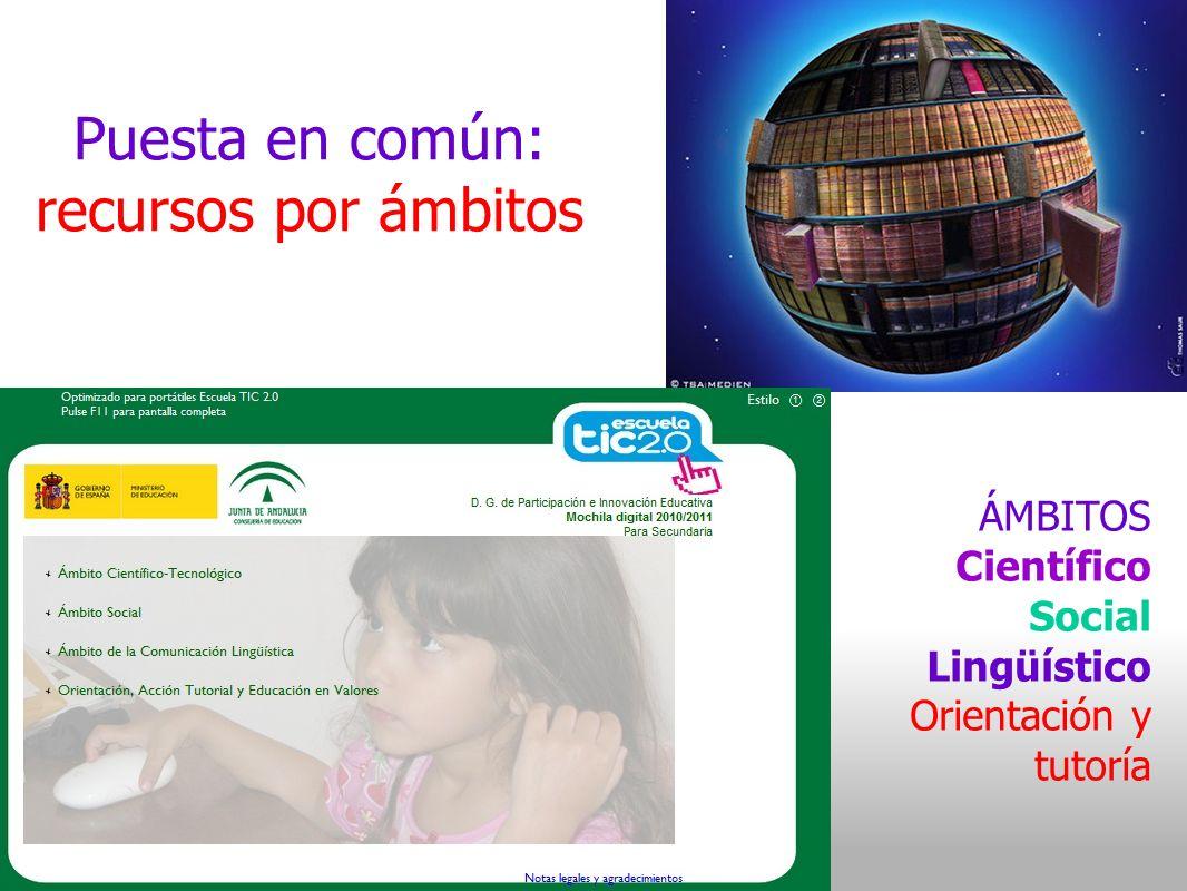 Puesta en común: recursos por ámbitos ÁMBITOS Científico Social Lingüístico Orientación y tutoría