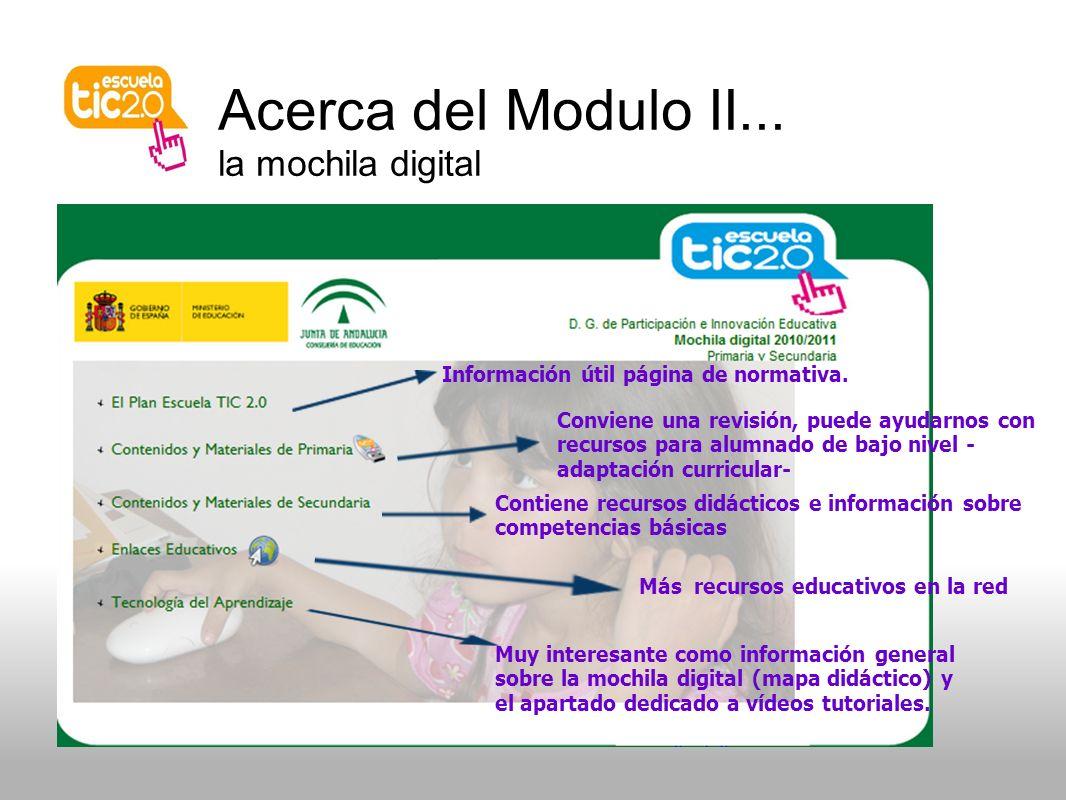 Acerca del Modulo II... la mochila digital Información útil página de normativa.